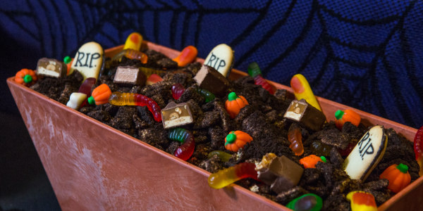 Spooky Graveyard Chocolate Chex Mix Puppy Chow
