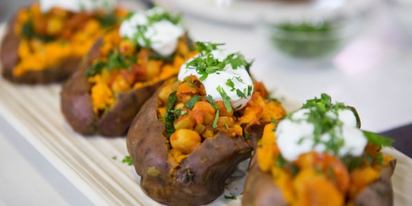 Chickpea Chili with Baked Sweet Potatoes
