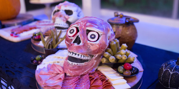 Zombie Cheese and Prosciutto Halloween Party Skull