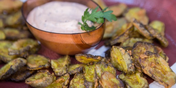 Cornmeal-Crusted Fried Pickle Chips with Smoky Mustard-Mayo