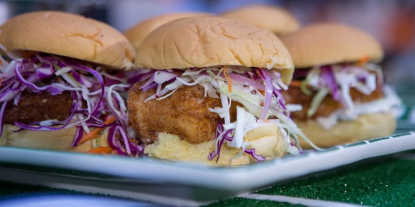 Crispy Cod Sandwiches with Pickle Sauce and Slaw