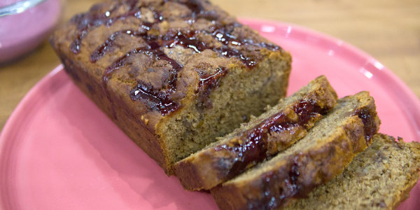 Peanut Butter and Jelly Swirled Banana Bread