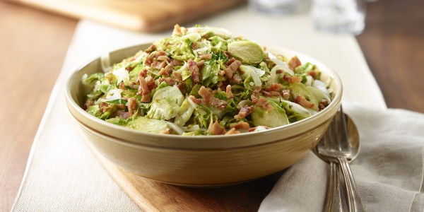 Shredded Brussels Sprouts with Onion and Bacon