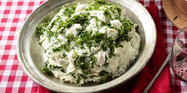 Kale and Goat Cheese Mashed Potatoes