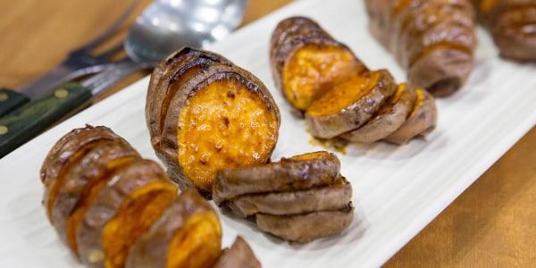 Bobby Flay's Spicy Maple Hasselback Sweet Potatoes