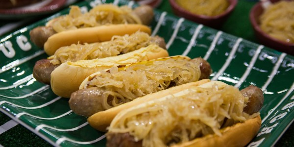 Bratwursts with Beer Mustard and Sauerkraut