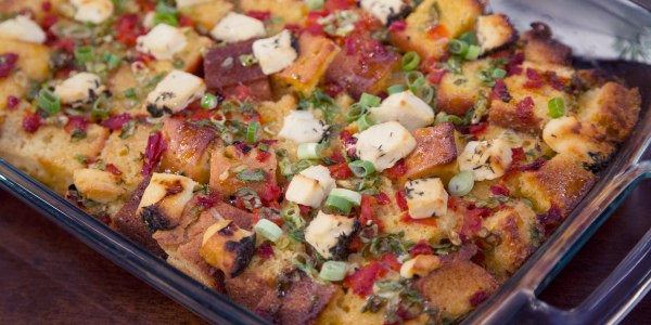Cornbread and Goat Cheese Strata