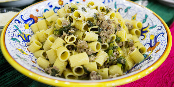 Lidia Bastianich's Mezzi Rigatoni with Sausage and Escarole