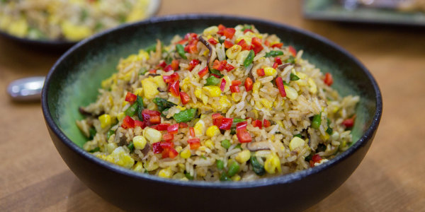 Egg, Asparagus, Corn and Shiitake Mushroom Fried Rice