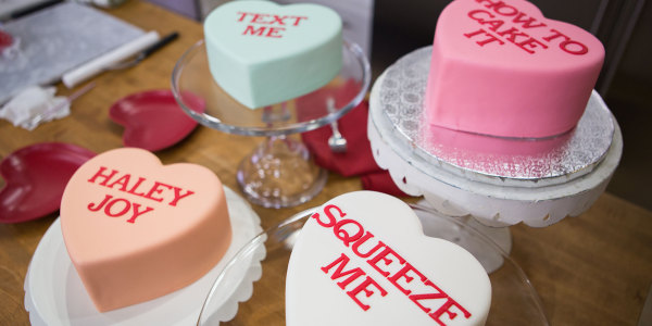 Mini Conversation Heart Cakes