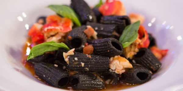 Black Rigatoni Pasta with King Crab and Fresno Chilies