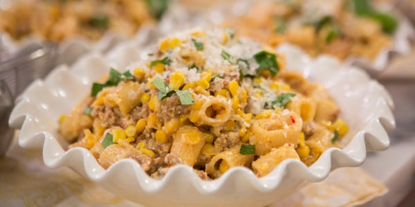 Mezzi Rigatoni Pasta with Corn and Spicy Sausage