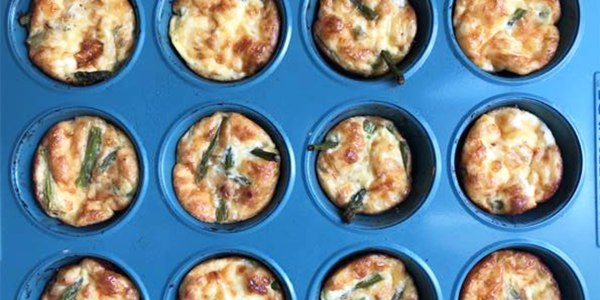 Mini Asparagus and Cheddar Cheese Frittatas