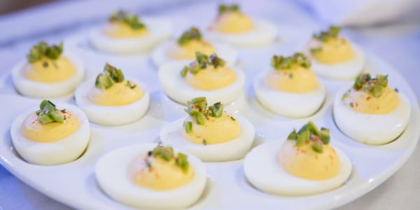 Deviled Eggs with Olives and Rosemary