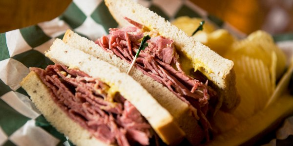 Corned Beef Sandwiches with Irish Cheddar and Pickles