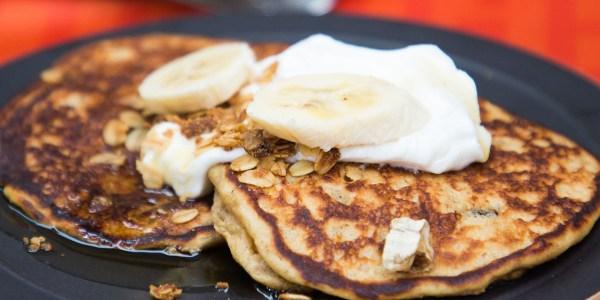Banana Granola Pancakes