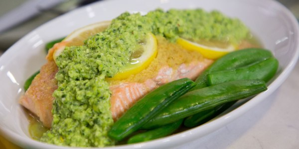Grilled Foil-Packet Salmon with Snap Peas and Edamame Pesto