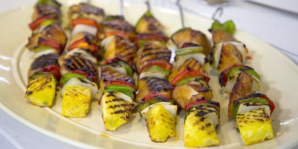 Grilled Chicken, Vegetable and Pineapple Kebabs