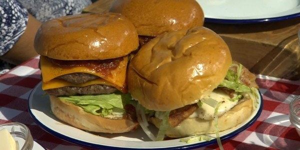 Double-Decker Burger with Smoky Tomato Relish