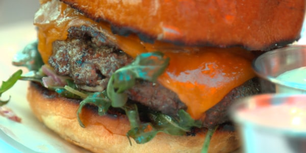 Larry's Burger with Grilled Tomato, Arugula and Tomato