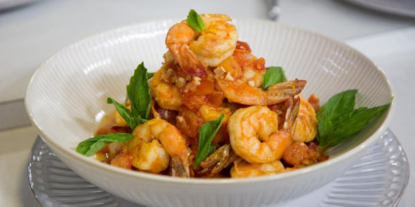 Gulf Shrimp with Summer Tomatoes, Basil and Ginger