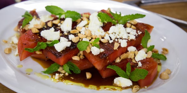 Grilled Watermelon with Feta Cheese, Balsamic and Mint