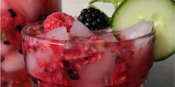 Mint Cooler Cocktail with Berry and Cucumber