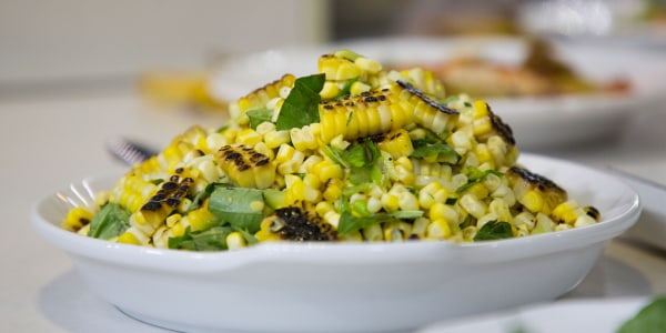 Grilled Corn Salad with Basil