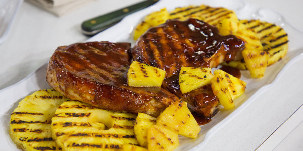 Grilled Pork Chops with Pineapple and Homemade Barbecue Sauce