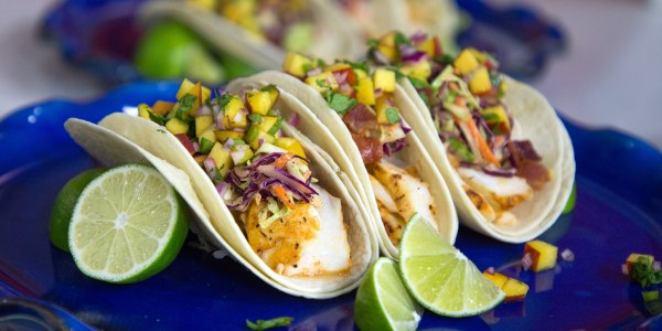 Blackened Fish Tacos with Bourbon-Bacon Slaw and Peach Salsa
