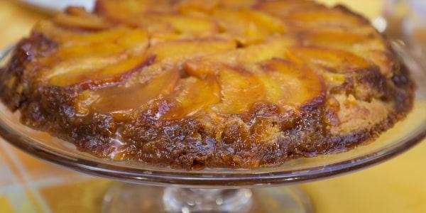 Caramel Peach Skillet Cake