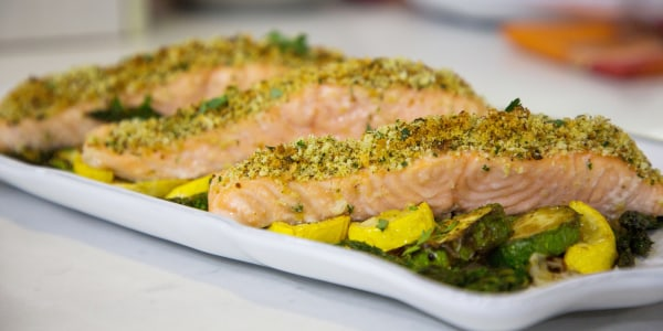 One-Pan Herb-Crusted Salmon and Vegetables