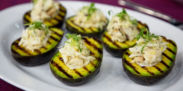 Grilled Avocado with Dungeness Crab Salad