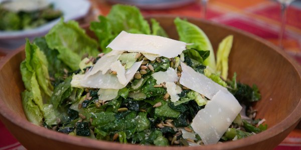 Kale Caesar Salad with Crunchy Seeds