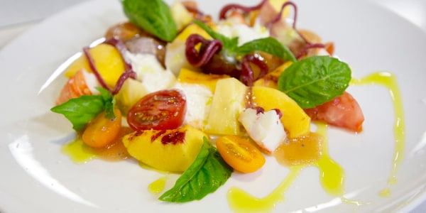 Inherited Tomato, Lobster, Peach and Starch Salad