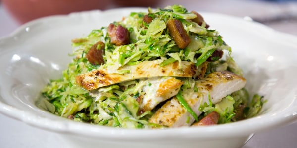 Warm Brussels Sprouts Caesar Salad with Chicken and Bacon