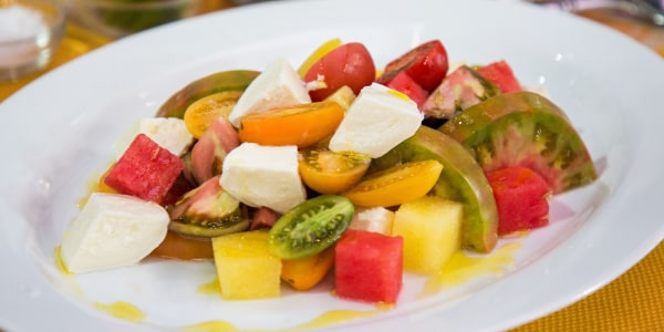 Heirloom Tomato and Watermelon Salad with Buffalo Mozzarella