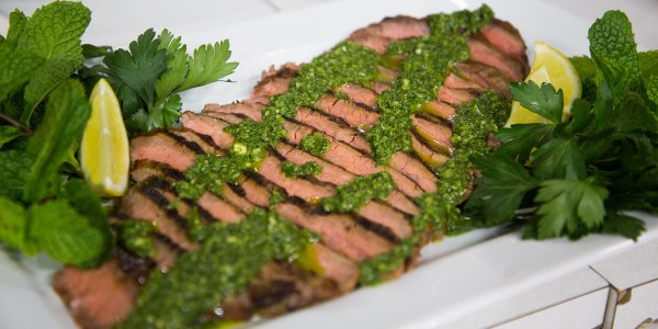 Grilled Flank Steak with Jalapeño-Arugula Harissa