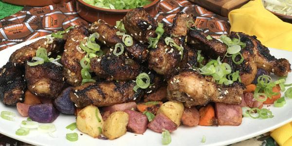 Crispy Italian Chicken Wings with Sweet Potato Fries