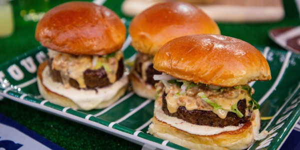 Green Chile Burger with Chorizo-Cheese Sauce and Citrus Slaw