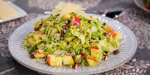 Brussels Sprout and Apple Slaw with Toasted Pecans