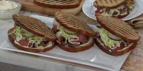 Grilled Flank Steak Sandwich with Horseradish and Pickles