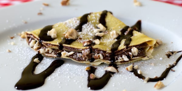 Chocolate-Hazelnut Crepes with Bourbon Whipped Cream