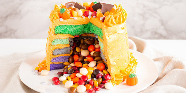 Halloween Surprise Cake with M&M's