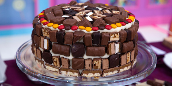 Pumpkin Chocolate Chip Layer Cake with Halloween Candy