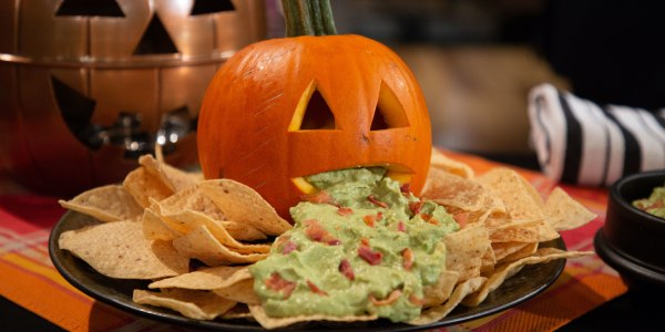 Spooky Avocado Dip With Tortilla Chips
