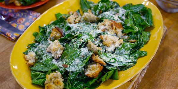 Garlicky Chard Caesar Salad