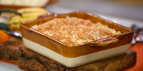 Mashed Potato Casserole with Gruyère and Browned Onions