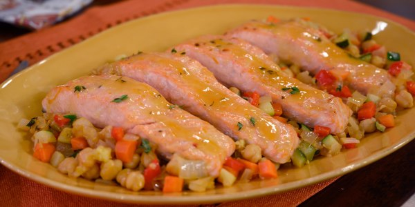 Orange-Glazed Salmon with Confetti Chickpeas