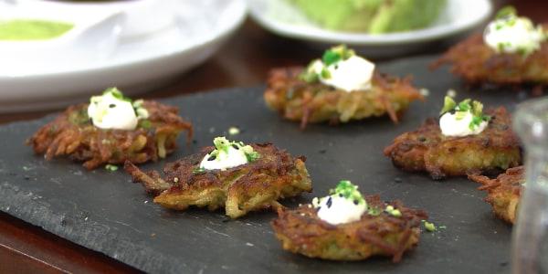 Wasabi Pea Latke Bites